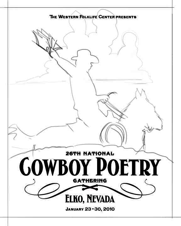 26th Cowboy Poetry poster [sketch A]